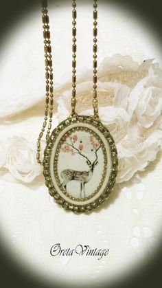#vintage style #handmade #jewelry #romantic #necklace, vintage deer print on designed oval #pendant ,#antique style, adjustable length, #bridal, #victorian, #handmade by OretaVintage on #Etsy