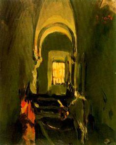 """Joaquim Mir Trinxet (1873-1940). """"Asno en un interior"""". Óleo sobre tela. 49 x 39 cm. Colección particular. Barcelona."""