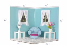 American girl doll rooms. Make these using covered cardboard with tape hinges or covered plastic canvas