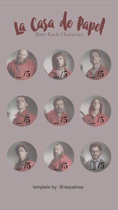 Rate each character from La Casa de Papel (Money Heist) - good luck on that task! | Instagram Stories Template by @raquelvsa Tv Shows Edition | Tell me if you like it and feel free to dm me with any request!