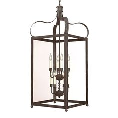 Bradford Charred Iron Eight-Light 25-Inch Pendant with Clear Glass
