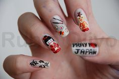 (EXPLORED) Pray For Japan by Rubia Olivo ~ Nail Art, via Flickr