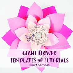 Alana Style Giant Paper flower DIGITAL SVG files & PDF templates for hand cutting with instructions.