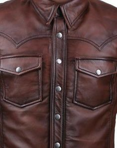 The classic look of leather is rejuvenated in a perfect handmade leather shirt to don in every casual hang-up. This leather shirt is made from very soft and supple real Lambskin Leather which gives it a saggy drop just like your casual shirt. Brown Leather Jacket Men, Leather Jeans, Lambskin Leather, Real Leather, Custom Made Shirts, Stylish Men, Jeans And Boots, Trench Jacket, Cryptozoology