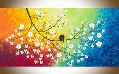 Cuadros Tripticos Pajaritos Aves Pintados Living Modernos - $ 1.890,00