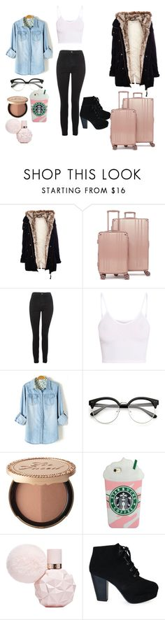 """BEHING THE DORMINTORY"" by reka15 on Polyvore featuring Pull&Bear, CalPak, Topshop, BasicGrey and Too Faced Cosmetics"