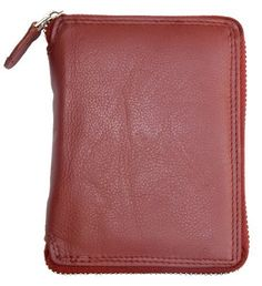 Dark Red Genuine Leather Zip-around Wallet ** To view further for this item, visit the affiliate link Amazon.com.