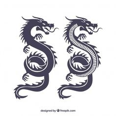 Traditional chinese dragon silhouette collection - Traditional chinese dragon s. Dragon Tattoo Simple, Small Dragon Tattoos, Dragon Tattoo For Women, Chinese Dragon Tattoos, Small Tattoos, Dragon Tattoo Designs Easy, Dragon Tattoo Easy Drawing, Chinese Dragon Drawing Easy, Dragon Tattoo Images