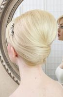 Bridal french twist on chin length hair
