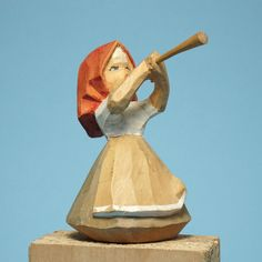 Norwegian Mountain Fjord Girl Blowing Trumpet Hand Carved Paint Norway Folk Art #ScandinavianFolkArt #unknown