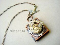 Steampunk Book Necklace a Locket in Copper by MDsparks on Etsy, $29.00