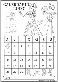 Calendário Junho 2015 Frozen Educação Infantil para Colorir
