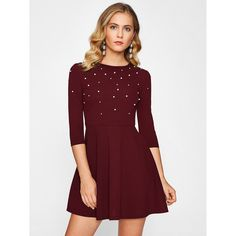 338cf55bf0c8 Pearl Embellished Fit   Flare Dress