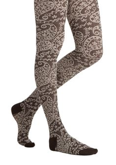 Maple Grove Tights in Brown. Under a stand of foliage, you sit on a blanket, reading in the cool light. #brown #modcloth