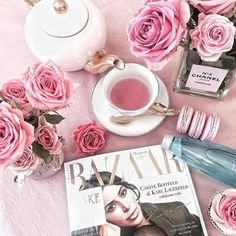 Rose tea dear? #rose #tea #teaware #roses #hightea #afterdinner #treat #relax #pamper #indulge #read #magazine #unwind #macaron #sweet #bake #cake #bazaar #cristinare #chanel #coco