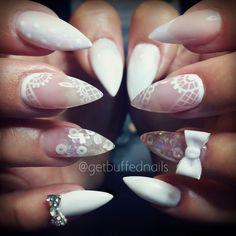 Instagram media by getbuffednails - #allwhite #nails ♡♡ #whitepolish #nailart #handpainted #lace #glitter from @glitter_heaven_australia #getbuffednails #gelpolish #cutenails #notd #instanails #ignails #nailswag #nailgame #nailtech #melbournenailart #3Dacrylic #bow #nailprodigy #pointynails #longnails