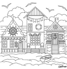 Coloring Pages Houses Beach House Coloring Pages Beach House