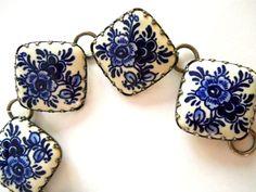 Ceramic Blue & White Bracelet Floral Tile by RenaissanceFair