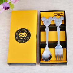 Disney Mickey Mouse Stainless Steel Dessert Spoon and Fork Made JAPAN silhouette