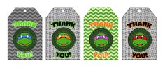 "Teenage Mutant Ninja Turtles Printable ""Thank You"" Gift Tags/ Favor Bag Labels - INSTANT DOWNLOAD!"