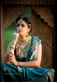Emerald Green Banarasi Saree