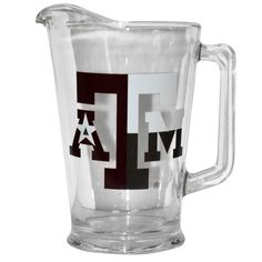 TEXAS A&M LOGO GLASS RING PITCHER WITH FLAG