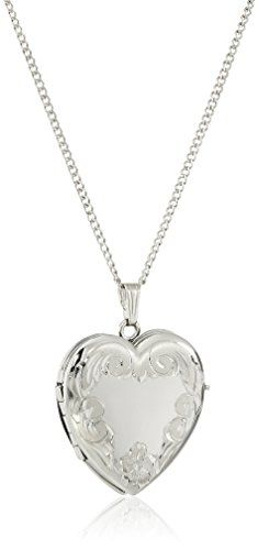 """Sterling Silver Engraved Four-Picture Heart Locket Necklace, 20"""""""
