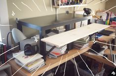 My DIY Standing Desk IKEA Hack - Stand Up Desk for my weird husband (better photos on site) Craft Desk, Diy Desk, Ikea Standing Desk, Work Desk Organization, Small Office Furniture, Office Paint Colors, Stand Up Desk, Cool Office, Home Office Design