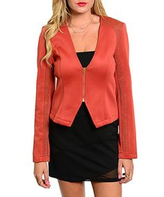 Loving this Rust Studded-Sleeve Zip-Up Jacket on #zulily! #zulilyfinds
