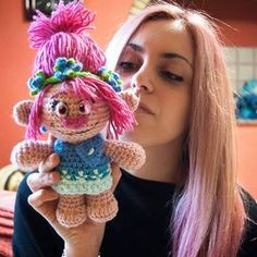 """Yarn Hugs I've got the same hair color of my new creation!!!  Say """"Hello"""" to my Troll Princess: Poppy!! ❤❤ I love how she turned out!"""