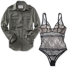 Affordable with a twist.... the lace bodysuit femmes up the industrial button-down....