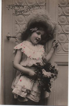 Petticoat girl, frilly bonnet, ditsy print lace, pretty girl photo, beautiful portrait, vintage child, tinted, shabby pastels (rppc/ch339)