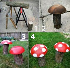 Garden Mushrooms great idea for a natural play space or fairy garden addition. Garden Crafts, Diy Garden Decor, Garden Projects, Diy Crafts, Yard Art Crafts, Art Projects, Natural Play Spaces, Garden Mushrooms, Garden Junk