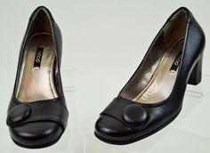 Ecco Womens 36 5/5.5 US Black Leather Heels Used #Ecco #PumpsClassics #Casual
