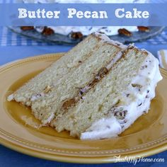 Butter Pecan Cake from That's My Home Delicious layers of vanilla cake with a cream cheese pecan frosting  #butterpecancake #cakerecipes  Copyright 2014 That's My Home