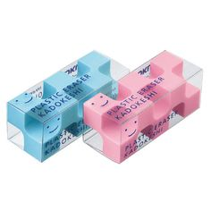 Kokuyo Kadokeshi 28-Corner Eraser - Pack of 2 - Blue and Pink. by niconecozakkaya on Etsy