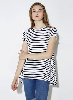 1f8e4d7009dc Stripe O Neck Short Sleeve Loose Casual T-Shirt Top