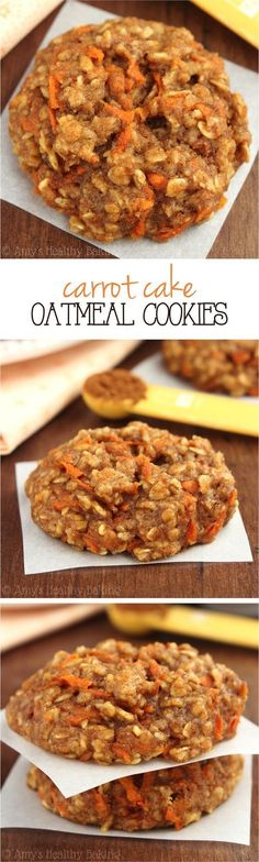 """""""Clean-Eating Carrot Cake Oatmeal Cookies -- these skinny cookies don't taste healthy at all! You'll never need another oatmeal cookie recipe again!"""""""