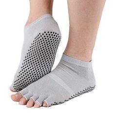 Pure Women's Non Slip Half Toe Yoga Socks Cotton Toeless Pilates Socks,Gray * Visit the image link more details.