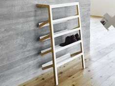 Steel and wood shoe cabinet