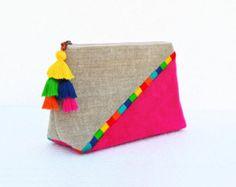 Yellow Boho pouch colour block linen velvet bag clutch by VLiving