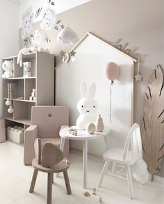 How gorgeous is this little girl's room! Miffy lamp, Brown lamp and Cloud mobile are all available online.