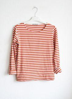 COS koszulka top bluzka w paski w paseczki biała pomaranczowa pasy z długim rękawem S 36 rękawkiem 2