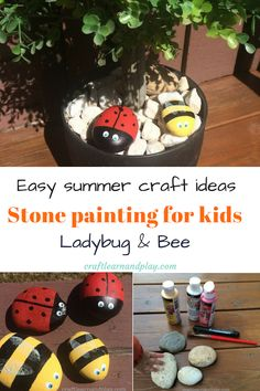 Awesome DIY spring or summer project for toddlers. Ladybug painted rock that makes fun projects for kids. Stone painting Lady Bug and Bee craft are easy to make and makes neat decorative garden stones ( we put ours in a fairy garden) Better yet, these stone painted bugs can be simple toy for children. Click for tutorial.