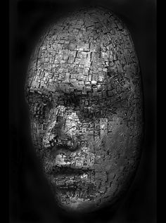 Masks and Heads Made from Moveable Type and Steel Hardware by Dale Dunning art-sculpture-installations Moveable Type, Land Art, Oeuvre D'art, Sculpture Art, Steel Sculpture, Metal Sculptures, Metal Art, Les Oeuvres, Art Boards