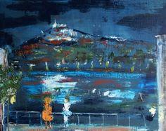 La nuit tombe sur Fourvière depuis les quais (Lyon),Huile sur toile ,peinture urbaine, artiste française, création unique, livraison offerte