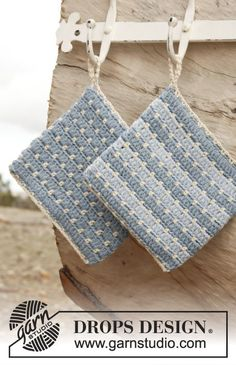 "Fun, little project! #Crochet DROPS pot holder with stripes in ""Paris"". ~ DROPS Design"