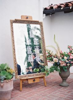 Bronze framed mirror wedding escort sign: http://www.stylemepretty.com/2016/11/07/modern-pastel-california-wedding/ Photography: Sposto - http://www.spostophotography.com/