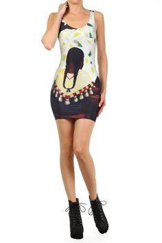 """Stretchkleid der LA-Modemarke #Poprageous inspiriert von #DiegoRiveras Gemälde """"Die Blumen-Verkäuferin"""" #artfashion"""