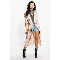 Boohoo Lottie Belted Waterfall Cardigan (£19) ❤ liked on Polyvore featuring tops, cardigans, camel, crochet cardigan, batwing tops, white crochet top, batwing cardigan and neon cardigan